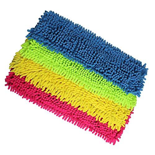COM-FOUR® 4er Set Ersatz-Bodenwischer - Microfaser Chenille (Blau / Pink / Gelb / Neon-Grün)