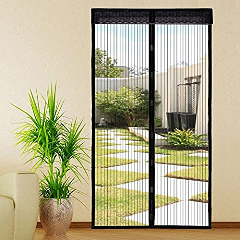 Extsud Magnetic Screen Door Keep Insects Out Mosquito Door Screen Easy to Install without Drilling Top-to-Bottom Seal Automatically for Balcony Sliding Living Room Children's Room, 100x220 cm