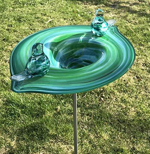 HFG Edle Vogeltränke mit 2 Vögel aus Glas Jade handgefertigt Vogelbad Glasobjekt Tränke für Vögel