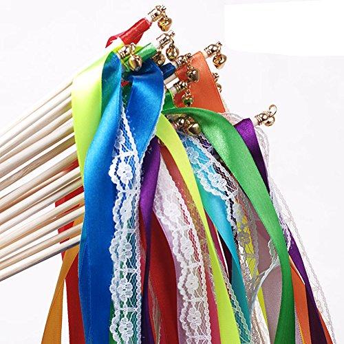 Hangnuo Glücksstäbe/Zauberstäbe mit Bändern für Hochzeit, Geburtstag, Party,...