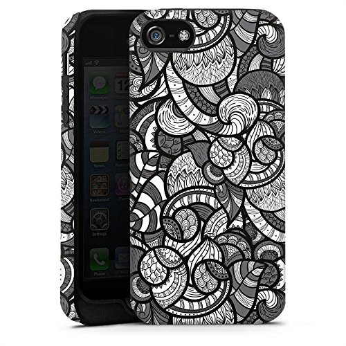 Apple iPhone X Silikon Hülle Case Schutzhülle Kreise Ornament Monochrom Tough Case matt