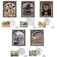 1986Sport/Giochi del Commonwealth Benham seta biglietti con Primo giorno di emissione (Set di 5) - 1986 Prima Emissione