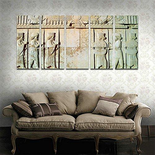 CyioArt - 5 Panels Wandkunst Persepolis - Persische Soldaten Statue Modern Home Dekorative Malerei Leinwand Drucken Bild Vintage Poster Wand Dekor für Wohnzimmer (69