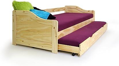 moebel-eins Laura Funktionsbett Bett Tandemliege Jugendbett Stauraumbett und Kinderbett mit Bettkasten Pinie natur inkl. 2 x Lattenrost in 90 x 200 cm