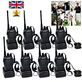 Ammiy® 8 PCS BaoFeng Walkie Talkie BF-888S 5W 2-Way Radio 16CH Signal Band UHF 400-470MHz 1500MAH Li-ion Battery Headset Built in LED Torch Headphones Earphones UK Plug Rechargeable