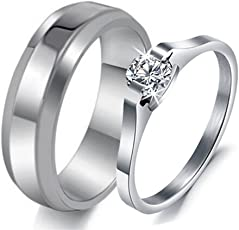 Via Mazzini Stainless Steel Swiss Crystal Proposal Couple Rings for Girls and Boys (Ring0257)