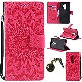 Funda Galaxy S9Plus móvil, cuero PU flip funda para Samsung Galaxy S9Plus Funda Case Cover Funda Carcasa rojo rojo