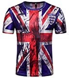Whatlees Herren Slim Fit FIFA Fussball WM 2018 3D Druck T-Shirt England UK - Ba0043-26 - XXL