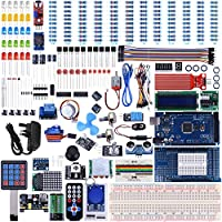UNIROI Mega 2560 Project The Most Complete Ultimate Starter Kit Compatible with ArduinoIDE w/TUTORIAL, MEGA 2560 R3 Controller Board, LCD 1602, Servo, Stepper Motor (242 Items)