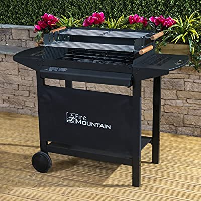 Fire Mountain Deluxe Charcoal Barbecue - Two Adjustable Grills with Three Heights, Side Shelves, Storage Area, Strong Steel Frame - 123cm W x 99cm H from Fire Mountain