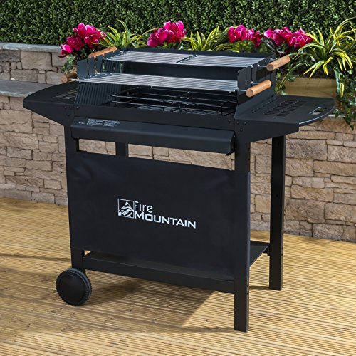 Deluxe Trolley Charcoal Barbecue - Side Shelves, Portable