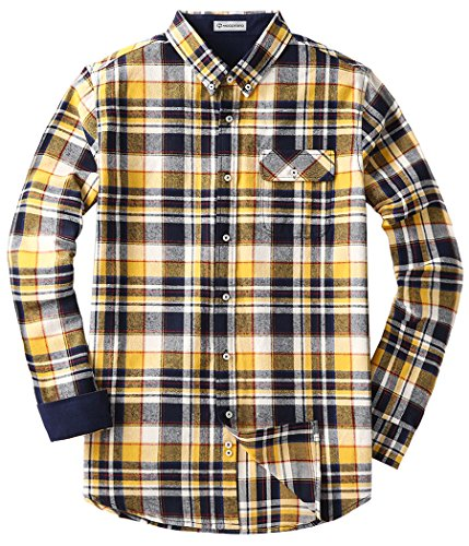 Mocotono Herren Langarm Kariertes Hemd Baumwolle Flanell Hemd mit Super  Qualität Gelb 4fb0f51a23