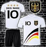ElevenSports Deutschland Trikot + Hose mit Gratis Wunschname + Nummer + Wappen Typ #D8 im EM/WM Weiss - Geschenke für Kinder,Jungen,Baby. Fußball T-Shirt Personalisiert als Weihnachtsgeschenk
