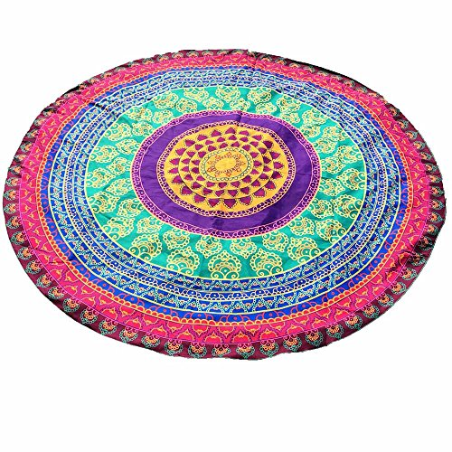 Tohole Rundes bedrucktes Strandtuch Tuch Handtuch Bunte Sommer Muster Sarong Pareo Wickelrock Strandtuch Tuch Wickeltuch Handtuch Original Tücher inklusive Schnalle(Mehrfarbig,One size)