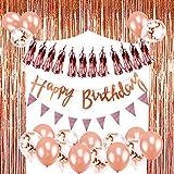 Geburtstag Dekoration Roségold, TopDeko Geburtstag Dekoration Mädchen mit Happy Birthday Banner, 25Pcs Konfetti Latex Ballons, Metallic Fringe Vorhang, 1 Satz Wimpel Banner, 10Pcs Tissue Paper Tassel Garland