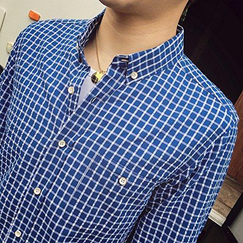 URBANFIND Hommes Mince Fit coton Plaid Robe Chemises Bleu fonc¨¦