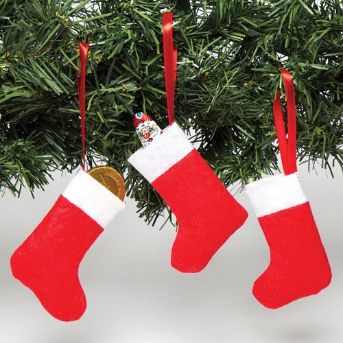 Mini calze di natale in feltro, da decorare, appendere e riempire con sorpresine - set decorazioni natalizie da appendere (confezione da 8)
