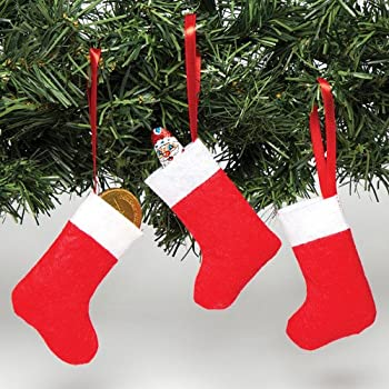 baker ross mini felt christmas stockings to decorate hang and fill with treats xmas hanging decoration set pack of 8