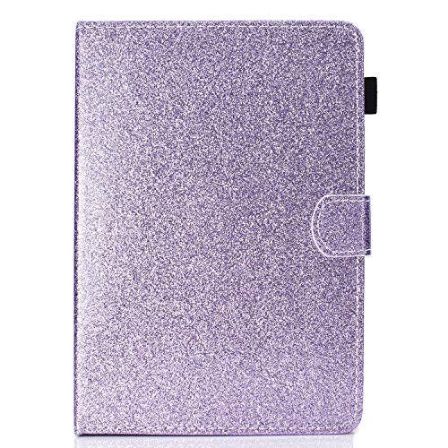 Universal Tasche für 8 Zoll Tablet - Bling Glitzer Leder Schutzhülle Case Cover für iPad Mini, Galaxy Tab A/E / S2 8.0, Fire HD 8, Huawei MediaPad, Lenovo Tab 4 8.0 Android iOS Tablet violett (Bling Galaxy Case Tab 2)