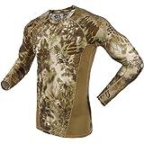 emansmoer Uomo Camo Manica lunga Girocollo Compressione Maglietta Traspirante Outdoor Tattico Sport Wicking T-shirt