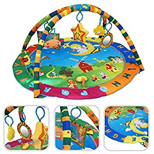 Todeco - Baby Play Mat, Infant Playmat - Size: 94 x 81 x 43 cm - Educational toys: (1x) Plush star (1x) Plush smiley (1x) Mirror (1x) rattle toy (1x) Canvas book - Animals pattern