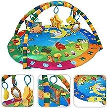 Todeco - Estera De Juego Para Bebés, Alfombrilla Para Bebés - tamaño: 94 x 81 x 43 cm - Juguetes educativos: (1x) estrella de peluche (1x) sonriente felpa (1x) Espejo (1x) sonajero juguete (1x) libro lienzo - Animals pattern