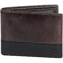OMAX Brand Black and Brown 100% Genuine Leather Slim Spacious Wallet for Men - LTWL05