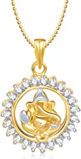 Ganesha Ganapati Pendant with Chain in God Pendants & Lockets for Men Women in American Diamond Cz Jewellery Gifts Gp164