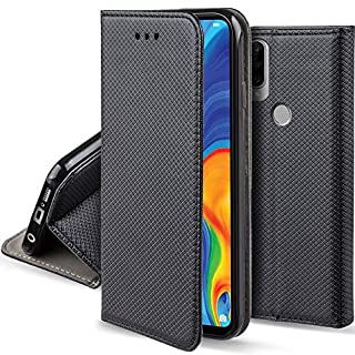 Moozy Hülle Flip Case für Huawei P30 Lite, Schwarz - Dünne magnetische Klapphülle Handyhülle mit Standfunktion
