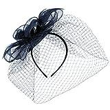 McBURN Sinamay Fascinator mit Schleier Haarschmuck Anlasshut Haarreif für Damen Anlasshut Winter Sommer (One Size - blau)