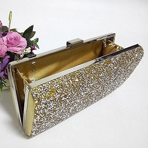 YYW  Glitter Clutch Bag, Damen Clutch Silber