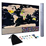 Konomio Mappa del Mondo 82,5 cm x 59 cm Poster Mondo Mappa da Grattare Multicolore da Grattare,Bandiere,Gomma graffio,per bambini Viaggiatori