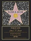 Star Of Fame zur Hochzeit - Hollywood Stern - Urkunde - Personalisiert mit Namen und Datum - Druck gerahmt - Wanddeko im dunklen Bilderrahmen - Originelles Hochzeitsgeschenk - ca. 35 x 45 cm -