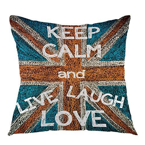 Behalten Sie Ruhe und leben Sie Lachen Liebe Vereinigtes Königreich Britische Flagge Vintage Dekokissen Fall Platz Kissenbezug für Sofa Couch Schlafzimmer Wohnheim Dekoration Blau Rot Weiß , 45X45 CM (Leben Lachen Liebe Weiß)