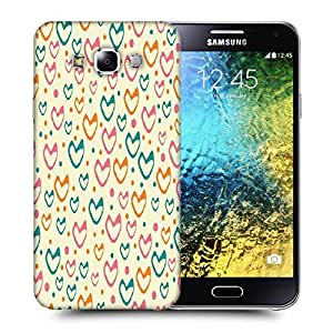 Snoogg Multicolor Hearts Cream Pattern Printed Protective Phone Back Case Cover ForSamsung Galaxy E5