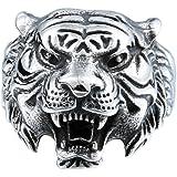 Beydodo Anneau Acier Large Homme Anneau De Tigre T/ête danimal 3D Taille 54-74 Alliance Homme Large
