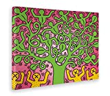 Giallobus - Quadro - Stampa su Tela Canvas - Keith Haring - The Tree of Life - Pop Art - 50 X 70 Cm