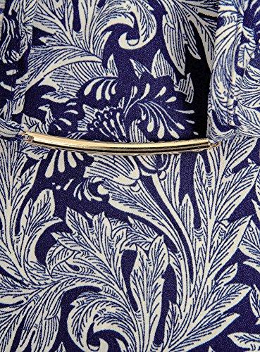 oodji Collection Femme Blouse avec Ouverture en Goutte d'Eau et Décor Métallique Bleu (7512O)