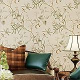 H&M Papel pintado no tejido retro pájaro y patrón de flores decoración dormitorio TV pared salón papel tapiz -53 cm (W) * 10 m (L) , Light yellow