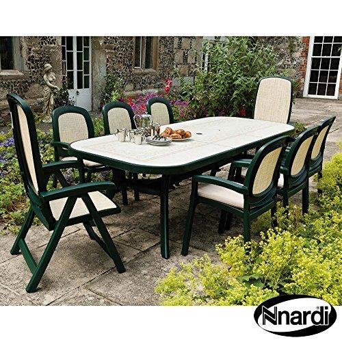Forest Green Outdoor-stuhl (Nardi 250cm Toscana Ravenna Tisch mit 2Delta und 6BETA Stuhl Set–Forest Grün)