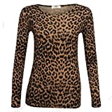 Islander Fashions Damen Langarm Braun Leoparden Print Top Damen Stretch Viskose T-Shirt Brauner Leopard X Large