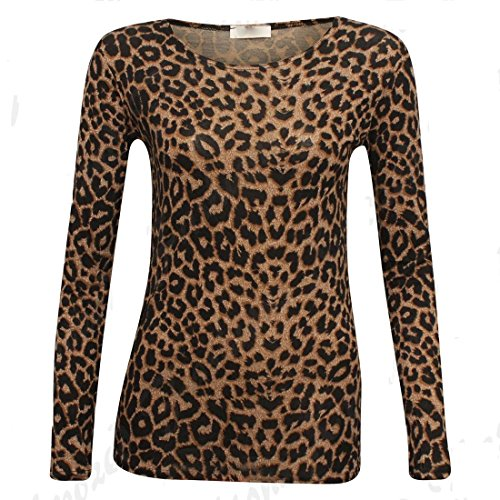 Damen Braun Leopardenmuster Langarm Viskose T-Shirt Oberteil (X-Large) (Pullover Trim Roll)
