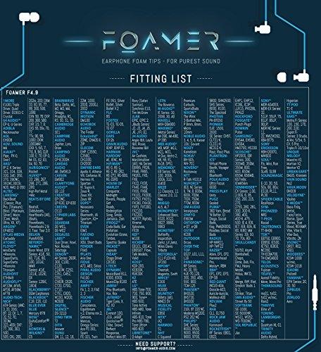 FOAMER F4.9 (L 6) • 6 Paar Noise Cancelling Schaum Ohrpolster für In Ear Kopfhörer • Ersatz für Silikon Ohrhörer Aufsatz • Extra Bass & Klarer Klang • InEar Ohrstöpsel, Memory Foam Earphone Tips - 4