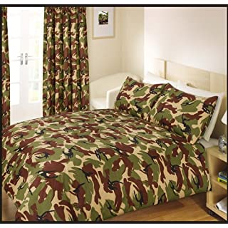 Ashley Mills Double Bed Duvet/Quilt Cover Bedding Set Army Camouflage Green
