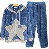 JIADONG Pareja de invierno engrosada pijama de paño grueso y suave coralino, ropa de dormir y loungewear l XL XXL , men and a blue , l