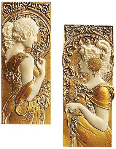 Design Toscano Frühling und Herbst, Wandfiguren (Gold Bemalt, Von Hand Finish)
