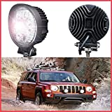 #6: AllExtreme 2 X 27W Heavy Duty Flood Round Work LED Light Fog Driving DRL Offroad SUV Boat Truck ATV Car