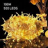 Avoalre 100M Lichterkette 500er LEDs Weihnachtsbeleuchtung mit Stecker 8 Modi und Memoryfunktion Deko Helles Warmweiß für Innen Außen Neujahr Weihnachten Party Hochzeit