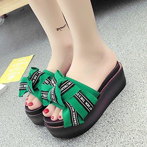 RUGAI-UE Estate pantofole a fine pendenza di spugna spesso donne High-Heeled Scarpe comfort Slip Green