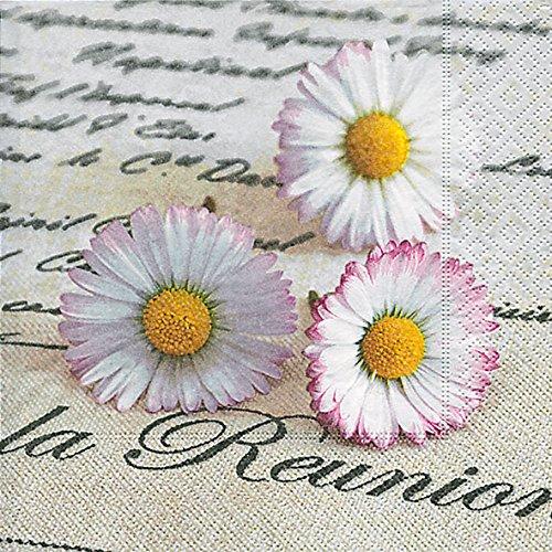 floristikvergleich.de 20 Servietten La Rénnion ? Begnung einzelner Gänseblümchen / Vintage / Blumen 33x33cm